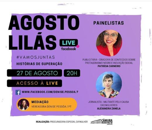 Câmara de Caxias do Sul promove live em alusão ao Agosto Lilás